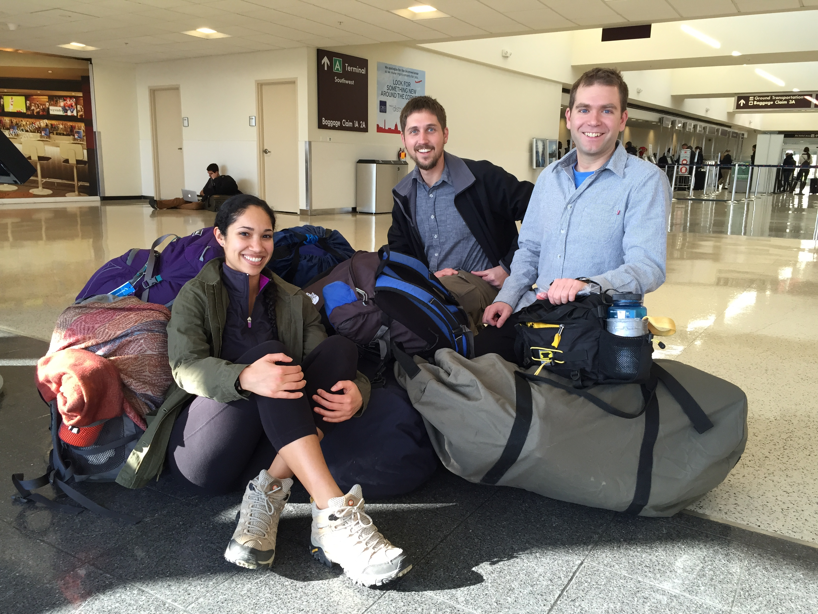 (left to right) Ashley, Gerritt, and Rob are have taken off from Washington, DC for Mbokop